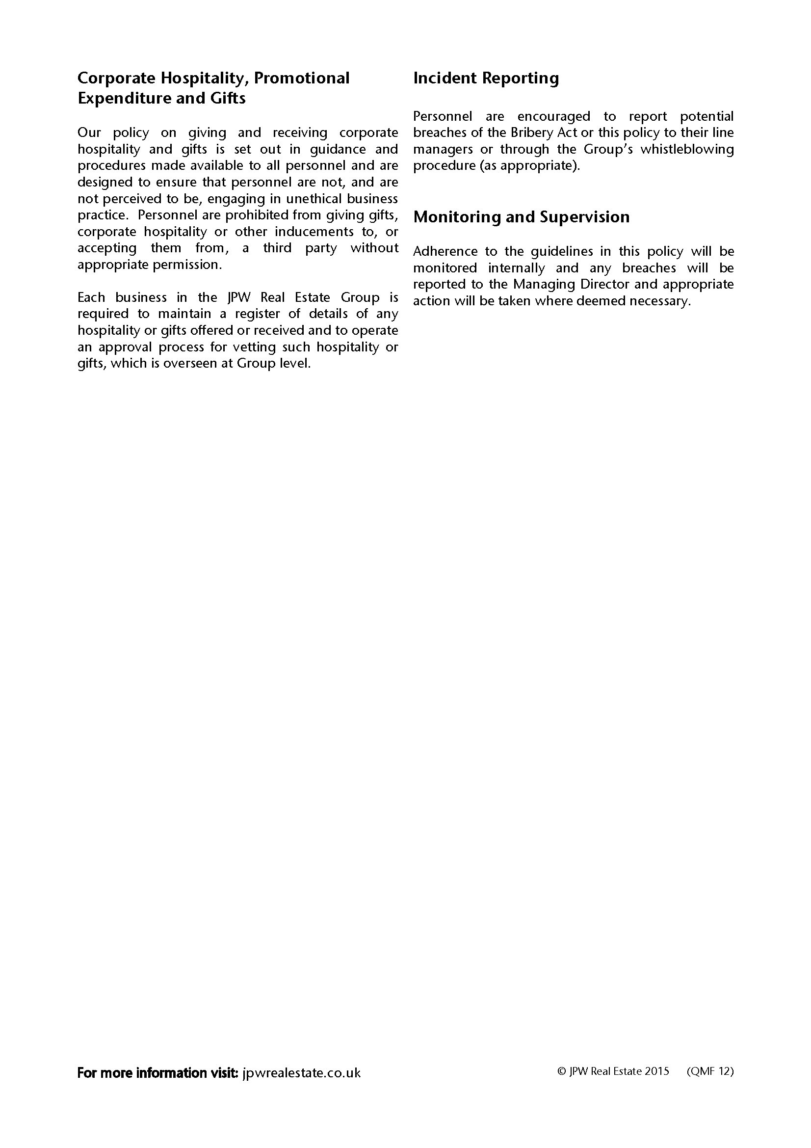 Jpw Anti Bribery Policy 2015 Page 2