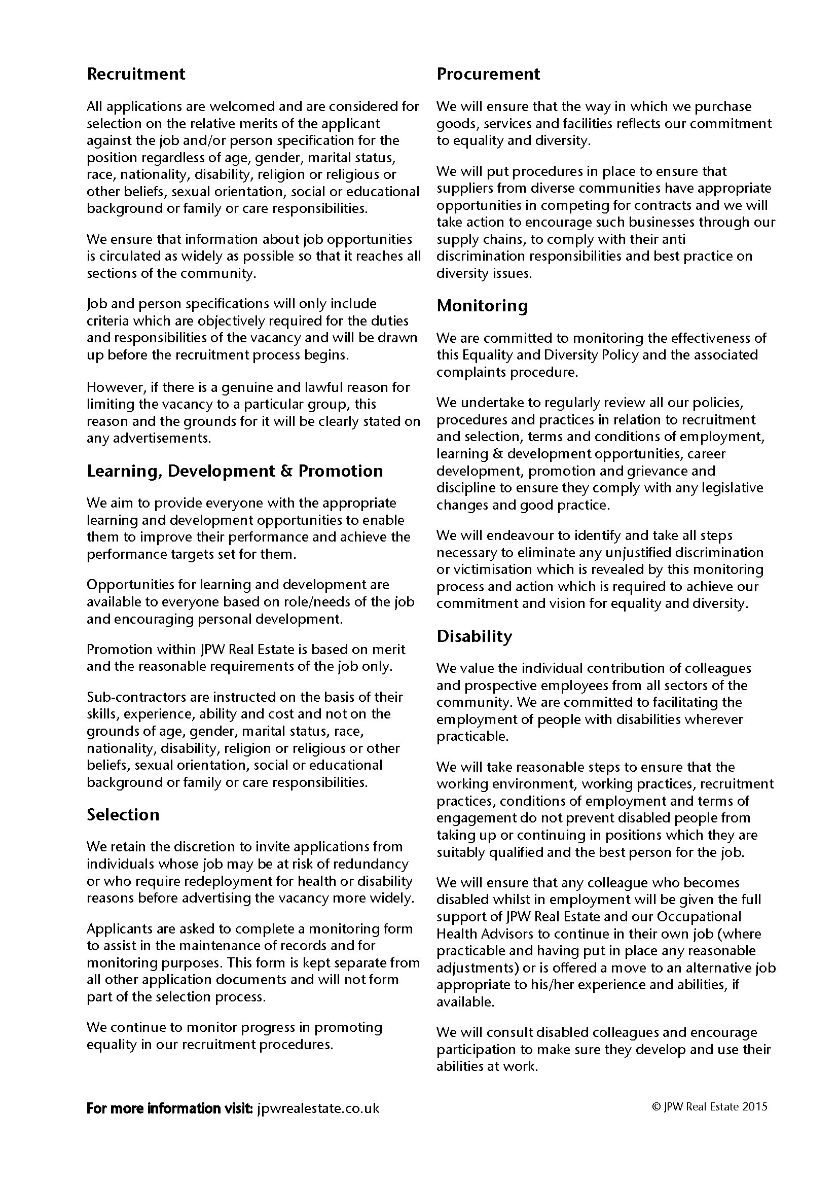 Jpw Equality Diversity Policy 2015 Page 2