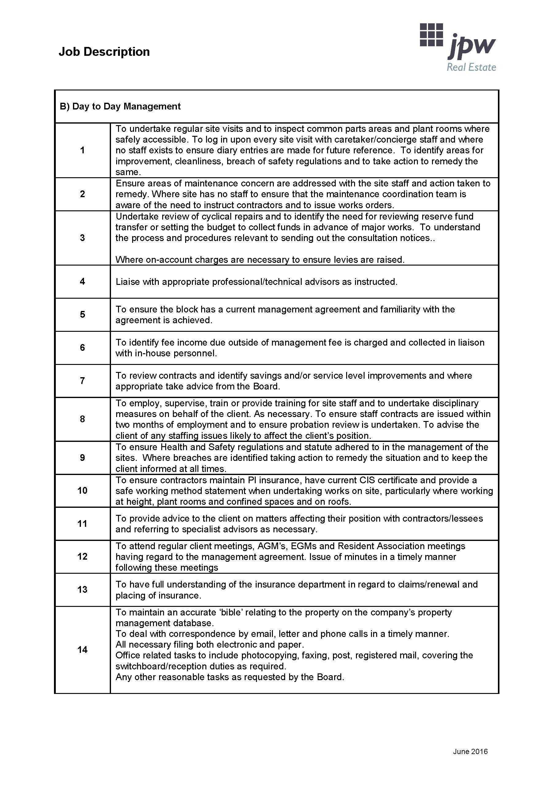 Job Description Property Manager Page 2